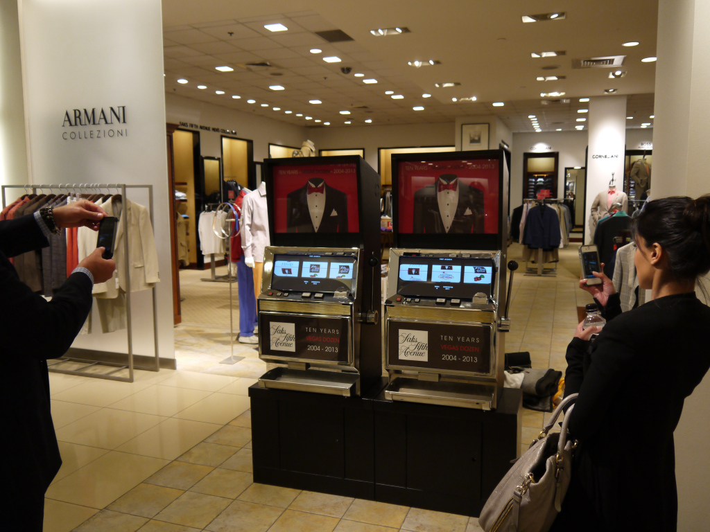 "Our ""Vegas Dozen"" Slot Machine in the ""Armani"" department at Saks 5th Ave. Las Vegas, NV"