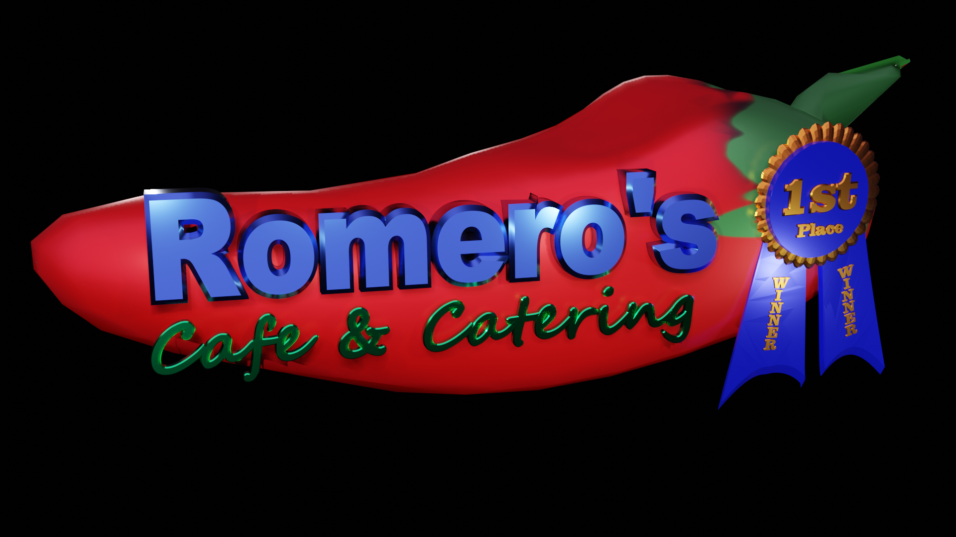 Romero's Cafe & Catering 3d Holographic Logo