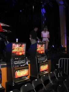 Promotional Slot Machines for TNA Wrestling at the Joint located in the Hard Rock Hotel and Casino.  Las Vegas, NVIMG_6056