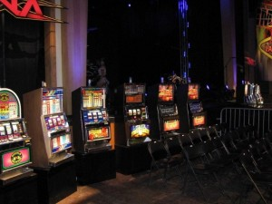 Promotional Slot Machines for TNA Wrestling at the Joint located in the Hard Rock Hotel and Casino.  Las Vegas, NVIMG_6058