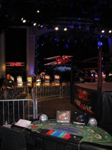 Promotional Slot Machines for TNA Wrestling at the Joint located in the Hard Rock Hotel and Casino.  Las Vegas, NVMG_6060