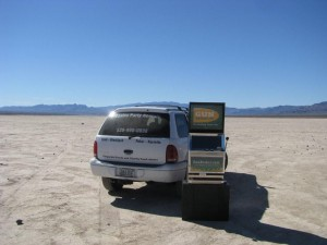 GB.com Promotional Slot Machine at a dry lake bed near Las Vegas, NV Photo IMG_7751