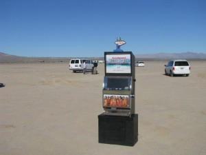 Sports Illustrated Model Search Promotional Slot Machine at a dry lake bed near Las Vegas, NV Photo IMG_7904