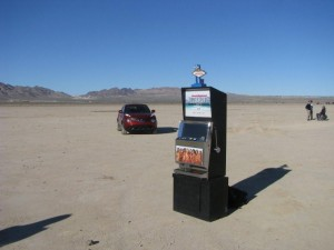 Sports Illustrated Model Search Promotional Slot Machine at a dry lake bed near Las Vegas, NV Photo IMG_7908