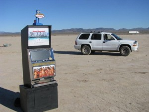 Sports Illustrated Model Search Promotional Slot Machine at a dry lake bed near Las Vegas, NV Photo IMG_7925